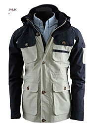 MANWAN WALK®Men's Multi Pockets Design Patchwork Jacket.Casual Slim Fit Hooded Coat,Stitching Zipper&Button.
