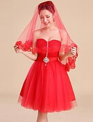 monista cotovelo véus de noiva com borda applique