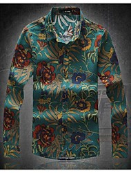 Men's Casual Slim Fashionable Flower Long Sleeve Linen Shirts
