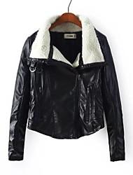 de manga larga chaqueta de descubierta de la PU de la capa de cuero de imitación de las mujeres