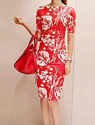 Women's Floral Print Design Fitted Bodycon Dress