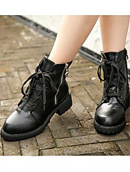 Winble Women's Fashion Causual Comfortable Tie Low Heel Temperament Leather Martin Boots