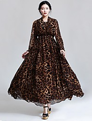 Women's Casual / Print / Maxi Leopard Swing Dress , V Neck Maxi Chiffon
