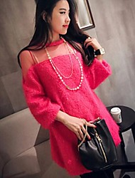 Women's Fashion Round Collar Gauze Spliced Sweater Dress(More Colors)