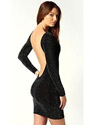 Women's Sexy Long Sleeve Halter Slim Dress