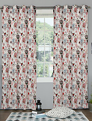 TWOPAGES® Bright Color Flowers Curtain (Two Panels)