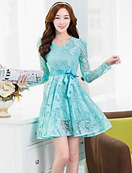 Women's A Line / Skater Dress,Solid Round Neck Above Knee Long Sleeve Blue / Pink Spring / Fall / Winter