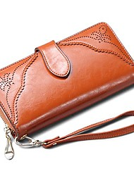 Women's Retro Carved Genuine Leather Wallets Clutch Purse Wristlets