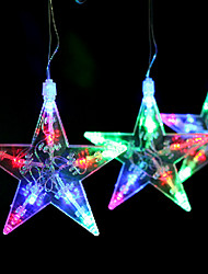 Set Of 4 Christmas Ornaments Colorful Star Lights ,Plastic