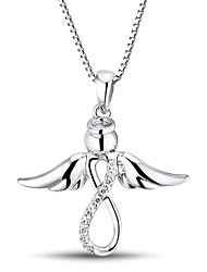 Women's Fashion Angel Shape Cubic Zirconia Platinum-Plated Sterling Silver Necklace