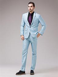 serge bleu clair slim fit costume deux-pièces