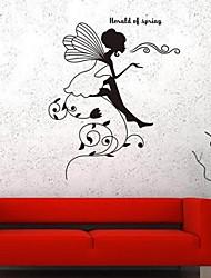 pegatinas de pared Tatuajes de pared, chica romántico balanceando sus alas pvc pegatinas de pared