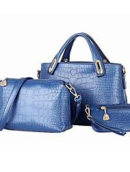 VENCHY Crocodile Pattern Simple Bag Set 10047 Black,Yellow,Blue,Cream