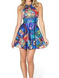 женская глубоко п / шея экипажа мини-платье, спандекс / полиэстер многоцветные случайный / печати