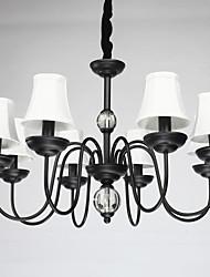 suspension américain, huit lumières, acier et tissu (8015-8)