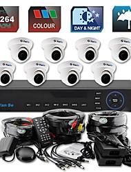 yanse® colore della cupola di IR impermeabile telecamera del sistema di telecamere di sicurezza Kit dvr 8ch d1 cctv 710cc08