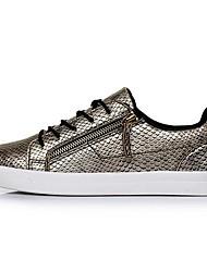 Sapatos Masculinos - Tênis Social - Azul / Branco / Dourado - Couro Envernizado - Casual