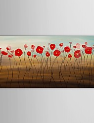 Hand Painted Oil Painting Floral Red Flower Canvas Painting with Stretched Frame