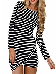 Women's Sexy / Casual Striped Bodycon Dress , Round Neck Asymmetrical / Mini / Above Knee Polyester