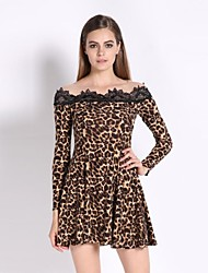 Women's Going out A Line / Skater Dress,Leopard Boat Neck Mini Long Sleeve Brown Spring / Fall