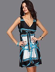 Frauen mit V-Ausschnitt gedruckt plus size Seidenkleid