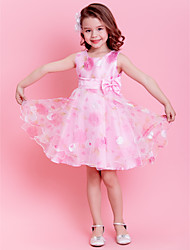 A-line / Princess Knee-length Flower Girl Dress - Organza Sleeveless Jewel with Bow(s) / Sash / Ribbon / Ruching