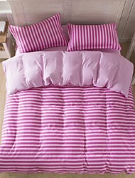 Mingjie White and Pink Stripes Sanding Bedding Sets 4pcs Duvet Cover Sets Bed Linen China Queen Size and Full Size