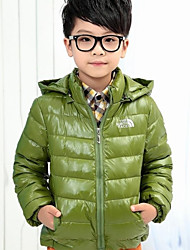 Boy's Hooded Solid Color Coat