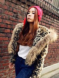 Fur Coats Fashion Faux Fur Leopard Long-Sleeved Jacket