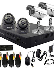 TWVISION® 4 Channel CCTV DVR System with HD Recording (2 Outdoor Waterproof Camera& 2 Indoor Dome Camera)