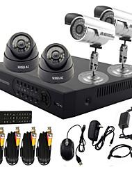 twvision® 4 canale di sistema cctv dvr con registrazione HD (2 macchina fotografica impermeabile esterna& 2 telecamera dome indoor)