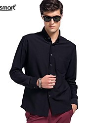 Lesmart Men's Black Business Casual Long-sleeved Shirt