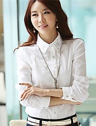 Women's Solid/Lace White Shirt , Shirt Collar Long Sleeve Beaded