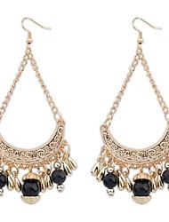 Women's Bohemia Curve Beads Tassel Hooked Dangle Earrings