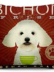 cão bichon algodão / linho fronha decorativo