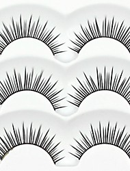New 3 Pairs European Color Natural Black Long False Eyelashes Daily Charming Eyelash Eye Lashes