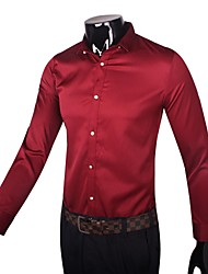 Men's Solid Work Shirt,Cotton Long Sleeve Black / Red / White