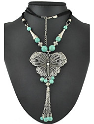 Fashion Vintage Silver Butterfly  With Cotton Rope And Turquoise Long Chain Pendant Necklaces
