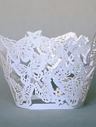 12pcs corte a laser borboleta papel envoltórios cozimento decorações copos do bolo do partido