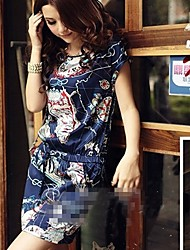 Fashionable Retro Printing Short Sleeve Dress Blue
