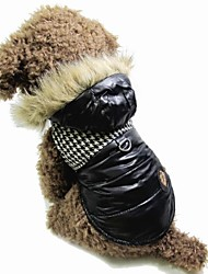Cat Dog Coat Hoodie Vest Black Brown Dog Clothes Winter Spring/Fall Color Block Fashion Keep Warm