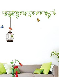 Wall Stickers Wall Decals, Natural Rattan&Butterfly PVC Wall Stickers