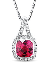Women's Classic Sterling Silver Platinum-Plated with Ruby and Diamond Necklace