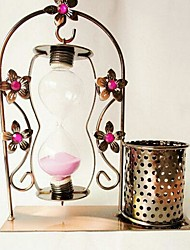 The Creative Home Decoration Gate Shaped Glass Hourglass with Brush Pot