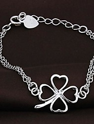 Ladies' Silver Chain  Clover Bracelet