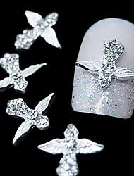 10pcs Silver Wing Schwert 3D-Legierung Strass Nagelkunstdekoration