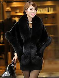yifulu abrigos de piel elegancia temperamento de la moda delgado con cuello en V manga larga