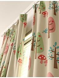 Room Darkening Printing  Tree Curtain (Two Panel)