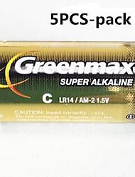 5шт Greenmax 1.5В LR14 с-типа щелочные батареи