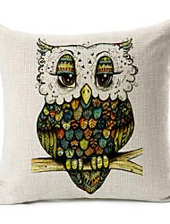 Green Owl Cotton/Linen Decorative Pillow Cover